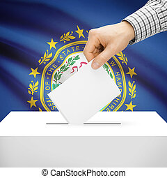 Ballot box with US state flag on background - New Hampshire...