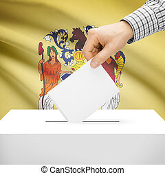 Ballot box with US state flag on background - New Jersey -...