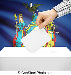 Ballot box with US state flag on background - New York -...