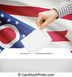 Ballot box with US state flag on background - Ohio - Ballot...