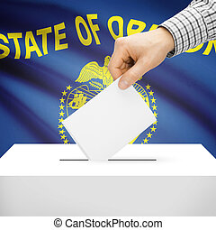 Ballot box with US state flag on background - Oregon -...