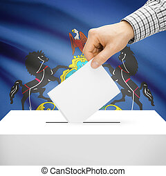 Ballot box with US state flag on background - Pennsylvania -...