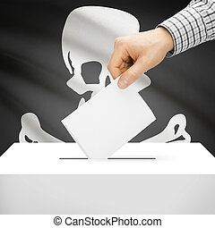 Ballot box with flag on background - Jolly Roger flag -...