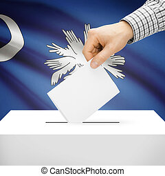 Ballot box with US state flag on background - South Carolina...