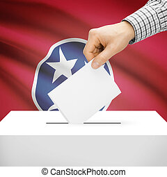Ballot box with US state flag on background - Tennessee -...