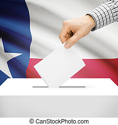 Ballot box with US state flag on background - Texas - Ballot...