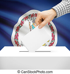 Ballot box with US state flag on background - Virginia -...