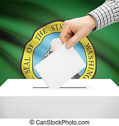 Ballot box with US state flag on background - Washington -...