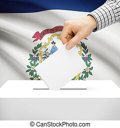 Ballot box with US state flag on background - West Virginia...