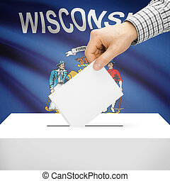 Ballot box with US state flag on background - Wisconsin -...