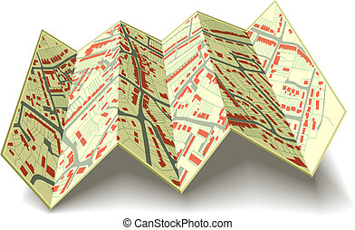 Folding street map - Editable vector illustrated folding map...