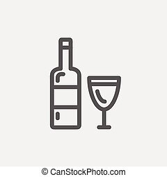 Bottle of whisky and a glass thin line icon