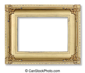 Gold picture frame on white background.