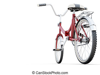 Bicycle on a white back angle view