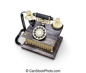 Vintage phone - Retro phone isolated on white background...