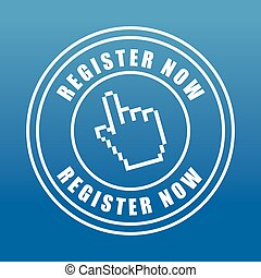 Register now design - Register now design over blue...