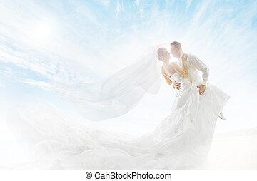 novia, y, novio, pareja, bailando, boda, Vestido, largo,...
