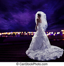 Bride in Wedding Dress with Veil, Fashion Bridal Beauty Portrait