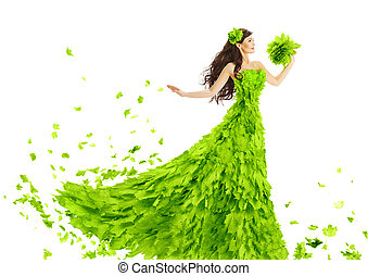 Woman Green Leaves Dress, Fantasy Creative Beauty Floral Gown, S