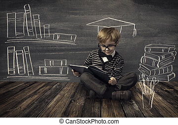 Child Little Boy in Glasses Reading Book over School Black...