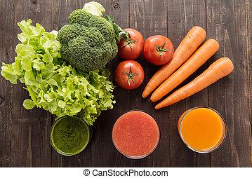 Vegetable juices&smoothie with fresh ingredie.
