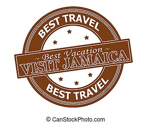 Visit Jamaica - Rubber stamp with text visit Jamaica inside,...