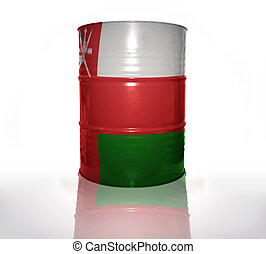 barrel with omani flag on the white background