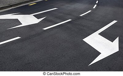 Traffic signs painted on the road