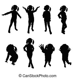 kids silhouette black vector - kids silhouette black art...