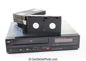 Video Recorder - Old VHS Video Cassettes on Old Video...