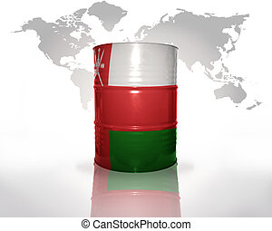 barrel with omani flag on the world map background