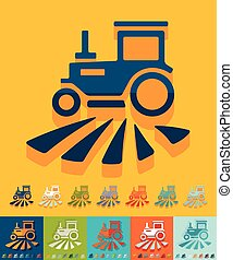 Flat design. tractor - tractor icon in flat design with long...