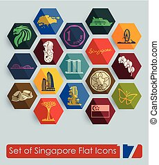 Set of Singapore icons - Set of Singapore flat icons for Web...