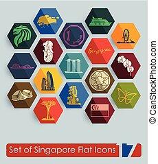 Set of Singapore icons - Set of Singapore flat icons for Web...