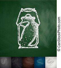 water-can icon. Hand drawn vector illustration. Chalkboard...