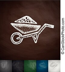 garden wheelbarrow icon. Hand drawn vector illustration....