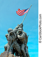 American flag carried by soldiers - Marine Corps War...