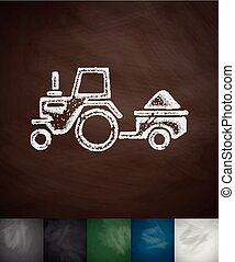tractor with trailer icon. Hand drawn vector illustration....