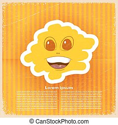 Smile in the cloud on retro orange paper. Vector illustration