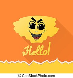 Cartoon HELLO on an orange background. Vector illustration
