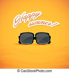 Bright yellow background. Sunglasses. Vector illustration.