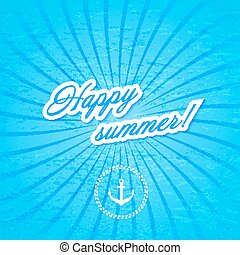 Blue background with anchor. Water. Vector illustration.