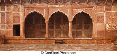 Beautiful, Ornate Stone Entryway to the Taj Mahal in Agra,...
