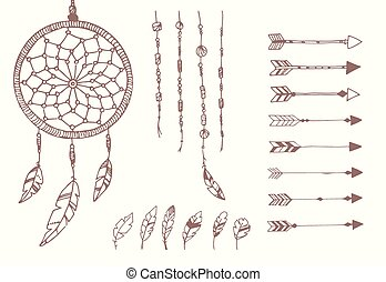 Hand drawn native american feathers, dream catcher, beads...