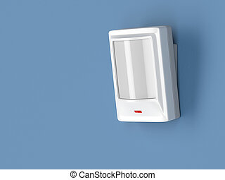 Motion sensor - Motion detector attached on blue wall