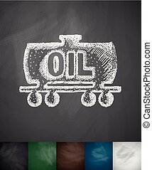 oil tank icon. Hand drawn vector illustration. Chalkboard...