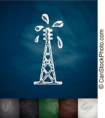 oil derrick icon. Hand drawn vector illustration. Chalkboard...