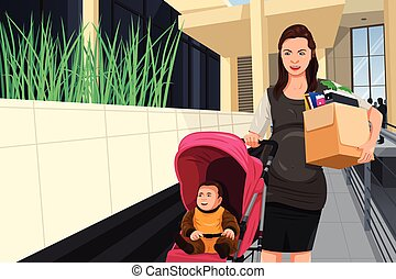 Pregnant woman leaving her job to take care of her baby