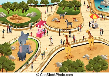 Scene in a zoo - A vector illustration of scene in a zoo