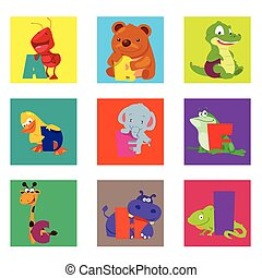 Alphabet animals from A to I